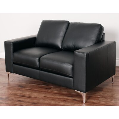 Greysen Contemporary Loveseat Upholstery: Black