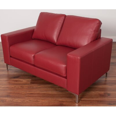 Greysen Contemporary Loveseat Upholstery: Red