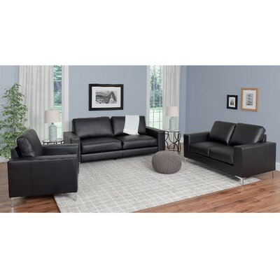 Greysen 3 Piece Sofa Set Upholstery: Black
