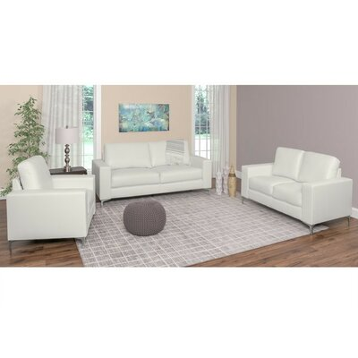 Greysen 3 Piece Living Room Set Upholstery: White