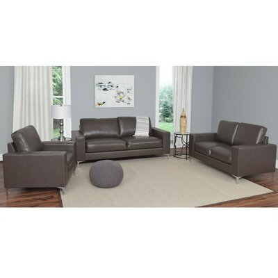 Greysen 3 Piece Sofa Set Upholstery: Brown
