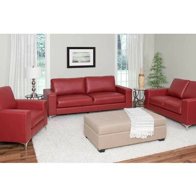 Greysen 3 Piece Living Room Set Upholstery: Red