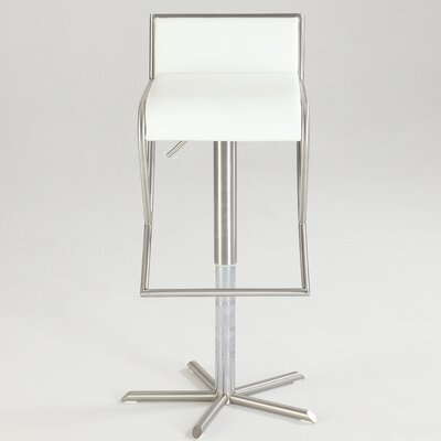Garmine Adjustable Height Swivel Bar Stool Upholstery: White
