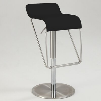 Brace Adjustable Height Swivel Bar Stool Upholstery: Black