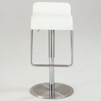 Brace Adjustable Height Swivel Bar Stool Upholstery: White