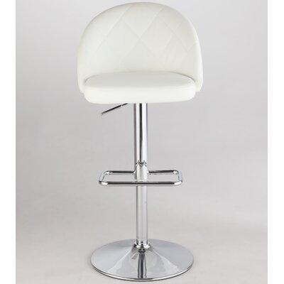 Chadley Adjustable Height Swivel Bar Stool Upholstery: White