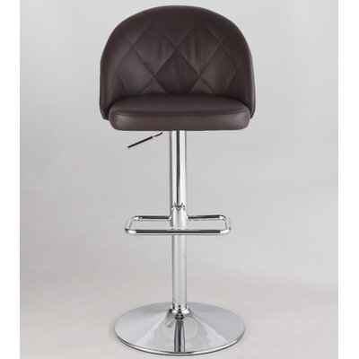 Chadley Adjustable Height Swivel Bar Stool Upholstery: Brown