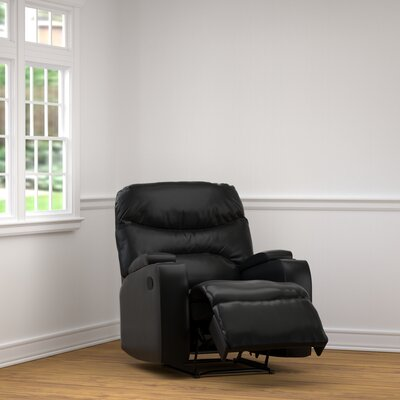 Ingram Manual Wall Hugger Recliner Upholstery: Black