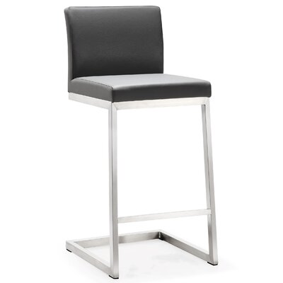 Brace Bar Stool Upholstery: Gray