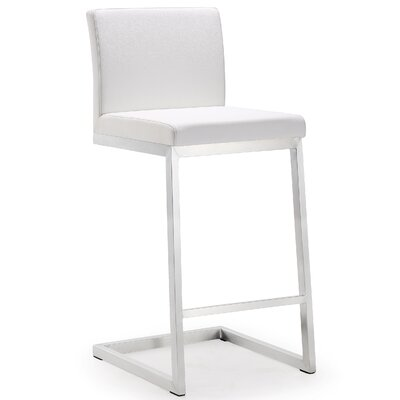 Brace Bar Stool Upholstery: White