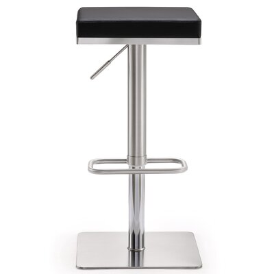 Fahad Adjustable Height Swivel Bar Stool Upholstery: Black