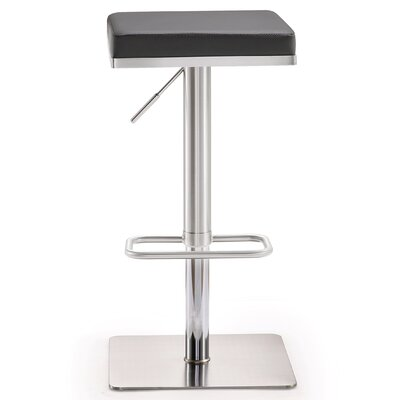 Critchfield Adjustable Height Swivel Bar Stool Upholstery: Gray