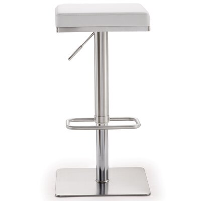 Fahad Adjustable Height Swivel Bar Stool Upholstery: White