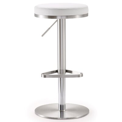Heitor Adjustable Height Swivel Bar Stool Upholstery: White
