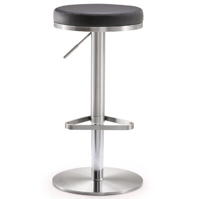 Heitor Adjustable Height Swivel Bar Stool Upholstery: Black