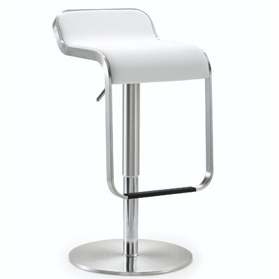 Jad Adjustable Height Swivel Bar Stool Upholstery: White