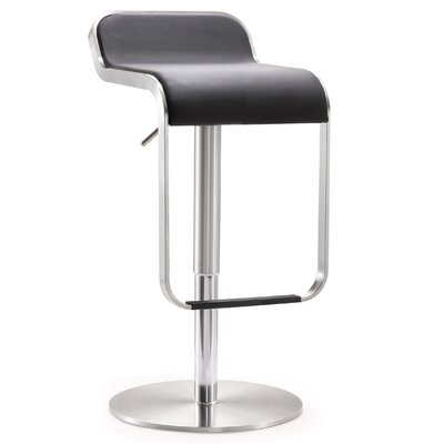 Branham Adjustable Height Swivel Saddle Bar Stool Upholstery: Black
