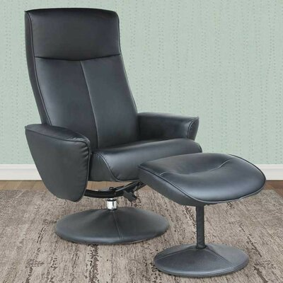 Carte Manual Swivel Recliner with Ottoman Upholstery: Rich Black
