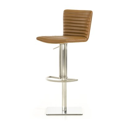 Clower Adjustable Height Swivel Bar Stool Upholstery: Camel