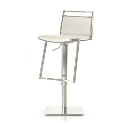 Clower Adjustable Height Swivel Bar Stool with Square Seat Upholstery: White