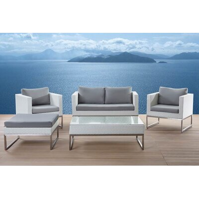 Kabir Garden Furniture 5 Piece Deep Seating Group with Cushions Finish: White/Gray