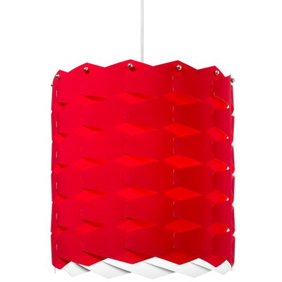 Theo 1-Light Drum Pendant Size: Large, Shade Color: Red