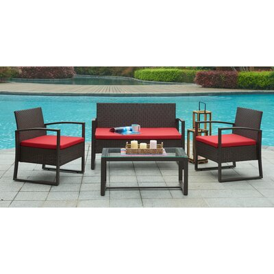 Camilo Outdoor 4 Piece Lounge Seating Group with Cushion