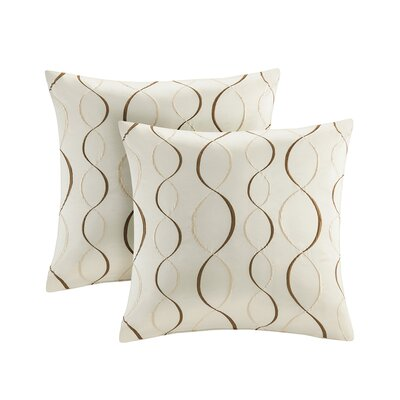 Linus Ogee Embroidered Taffeta Throw Pillow Color: Ivory