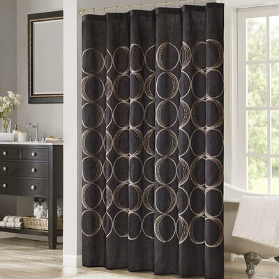 Keaton Embroidered Shower Curtain Color: Black
