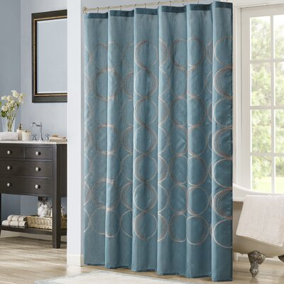 Keaton Embroidered Shower Curtain Color: Teal