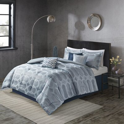 Landon 7 Piece Comforter Set Size: Cal King, Color: Blue