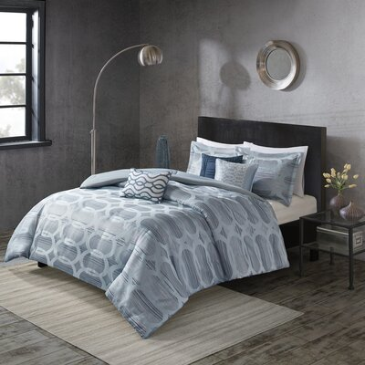Landon 6 Piece Duvet Cover Set Size: King / California King, Color: Blue