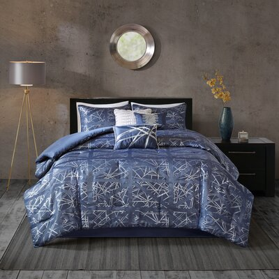 Marcel 7 Piece Comforter Set Size: Queen, Color: Blue