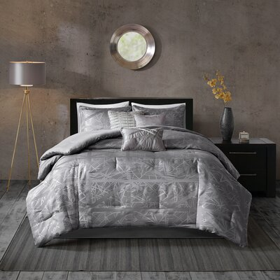 Marcel 7 Piece Comforter Set Size: King, Color: Gray