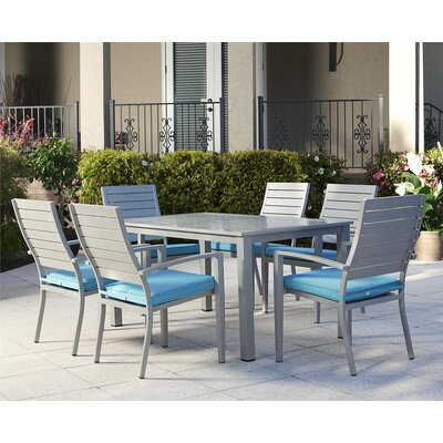 Olive 7 Piece Dining Set with Cushion Finish: Gray/Blue