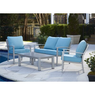 Chumbley Brushed Aluminum Patio Furniture 4 Piece Deep Seating Group with Cushion Finish: Gray/Blue