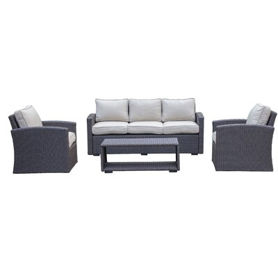 Behan Sofa 4 Piece Deep Seating Group with Cushion Color: Beige