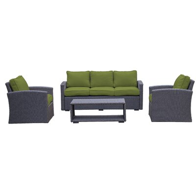 Behan Sofa 4 Piece Deep Seating Group with Cushion Color: Verde
