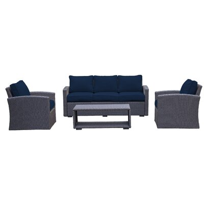 Behan Sofa 4 Piece Deep Seating Group with Cushion Color: Navy