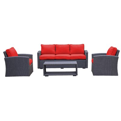 Behan Sofa 4 Piece Deep Seating Group with Cushion Color: Strawberry