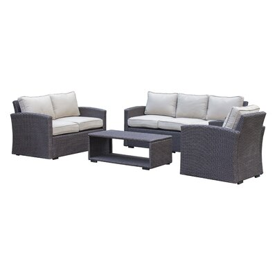 Behan Contemporary Sofa 4 Piece Deep Seating Group with Cushion Color: Beige