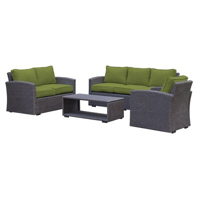 Behan Contemporary Sofa 4 Piece Deep Seating Group with Cushion Color: Verde