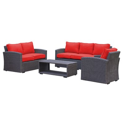 Behan Contemporary Sofa 4 Piece Deep Seating Group with Cushion Color: Strawberry