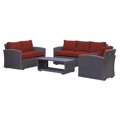 Behan Contemporary Sofa 4 Piece Deep Seating Group with Cushion Color: Brick