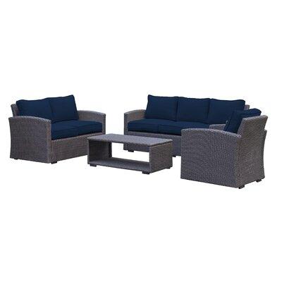 Behan Contemporary Sofa 4 Piece Deep Seating Group with Cushion Color: Navy