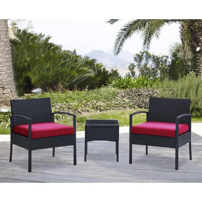 Kobe 3 Piece Lounge Seating Group with Cushion Fabric: Red