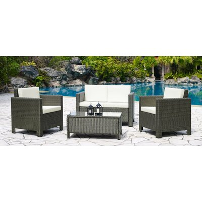 Koen 4 Piece Deep Seating Group with Cushions