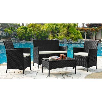 Kohen 4 Piece Lounge Seating Group with Cushions