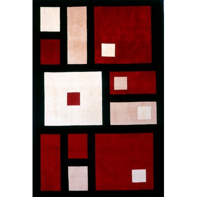 Ella Hand-Tufted Black/Red Area Rug Rug Size: 36 x 56