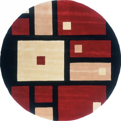 Dunstable Hand-Tufted Black/Red Area Rug Rug Size: Round 59
